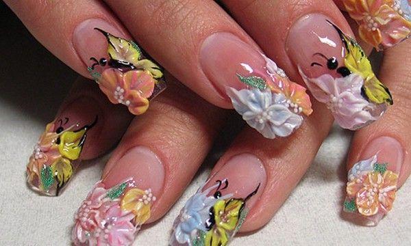 об`ємні квіти на нігтях